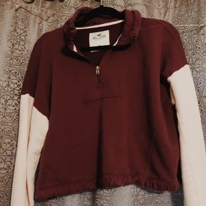 hollister zip up sweater (burgandy and pink)